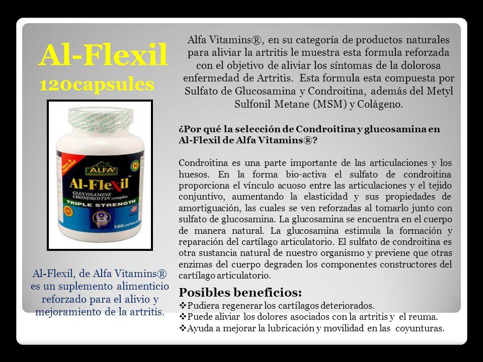 Al-Flexil 120capsules Al-Flexil, de Alfa Vitamins® es un suplemento alimenticio reforzado para el alivio y mejoramiento de la artritis. Alfa Vitamins®