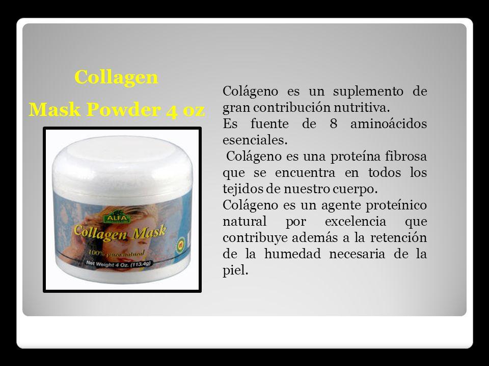 Collagen Mask Powder 4 oz Colágeno es un suplemento de gran contribución nutritiva. Es fuente de 8 aminoácidos esenciales. Colágeno es una proteína fi