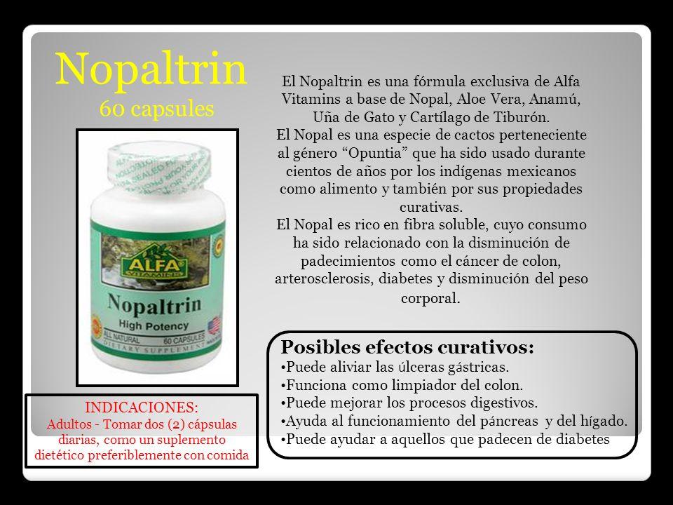Nopaltrin 60 capsules El Nopaltrin es una fórmula exclusiva de Alfa Vitamins a base de Nopal, Aloe Vera, Anamú, Uña de Gato y Cartílago de Tiburón. El