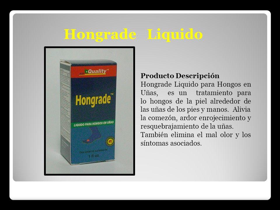 Hongrade Liquido Producto Descripción Hongrade Liquido para Hongos en Uñas, es un tratamiento para lo hongos de la piel alrededor de las uñas de los p