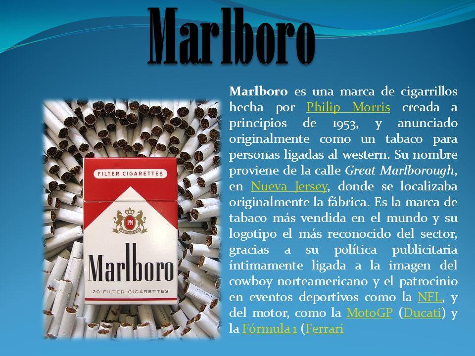 Marlboro es una marca de cigarrillos hecha por Philip Morris creada a principios de 1953, y anunciado originalmente como un tabaco para personas ligad