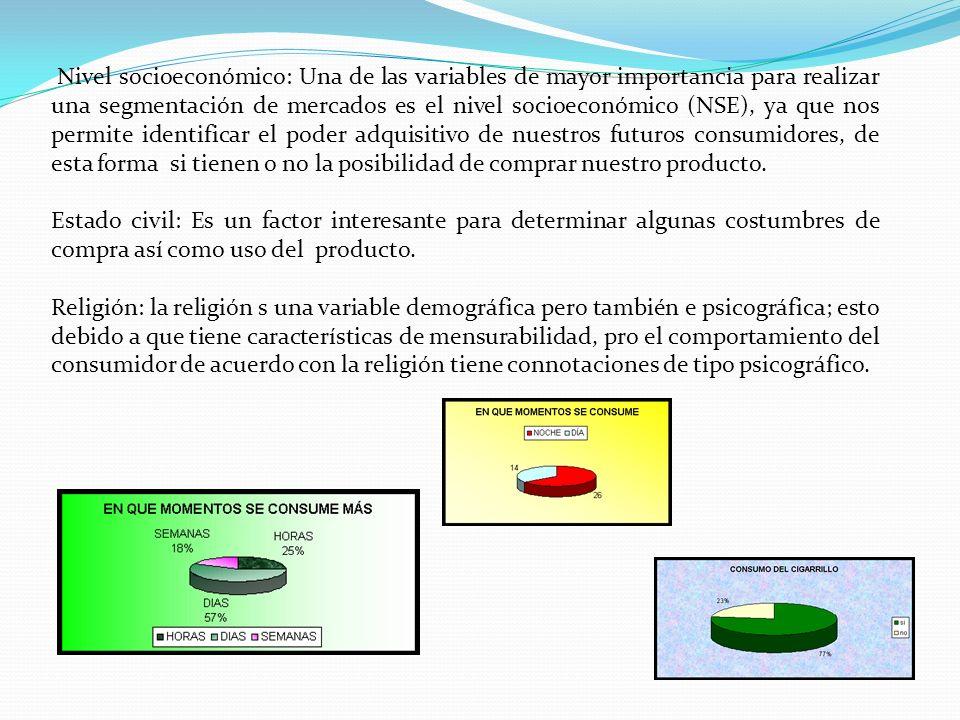 Nivel socioeconómico: Una de las variables de mayor importancia para realizar una segmentación de mercados es el nivel socioeconómico (NSE), ya que no