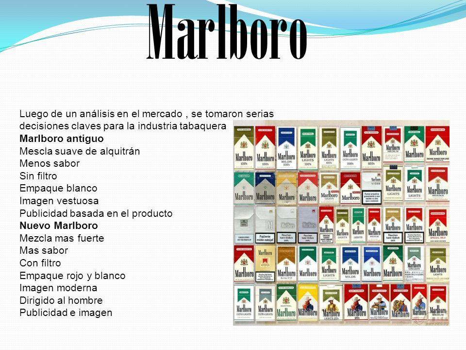 Luego de un análisis en el mercado, se tomaron serias decisiones claves para la industria tabaquera Marlboro antiguo Mescla suave de alquitrán Menos s