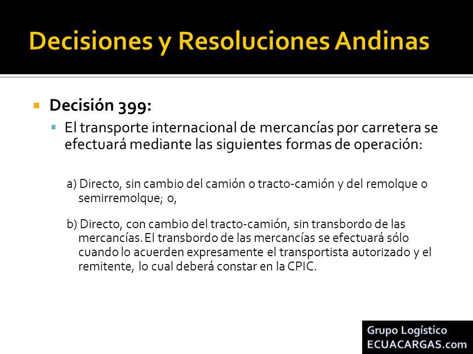 Decisión 399: El transporte internacional de mercancías por carretera se efectuará mediante las siguientes formas de operación: a) Directo, sin cambio