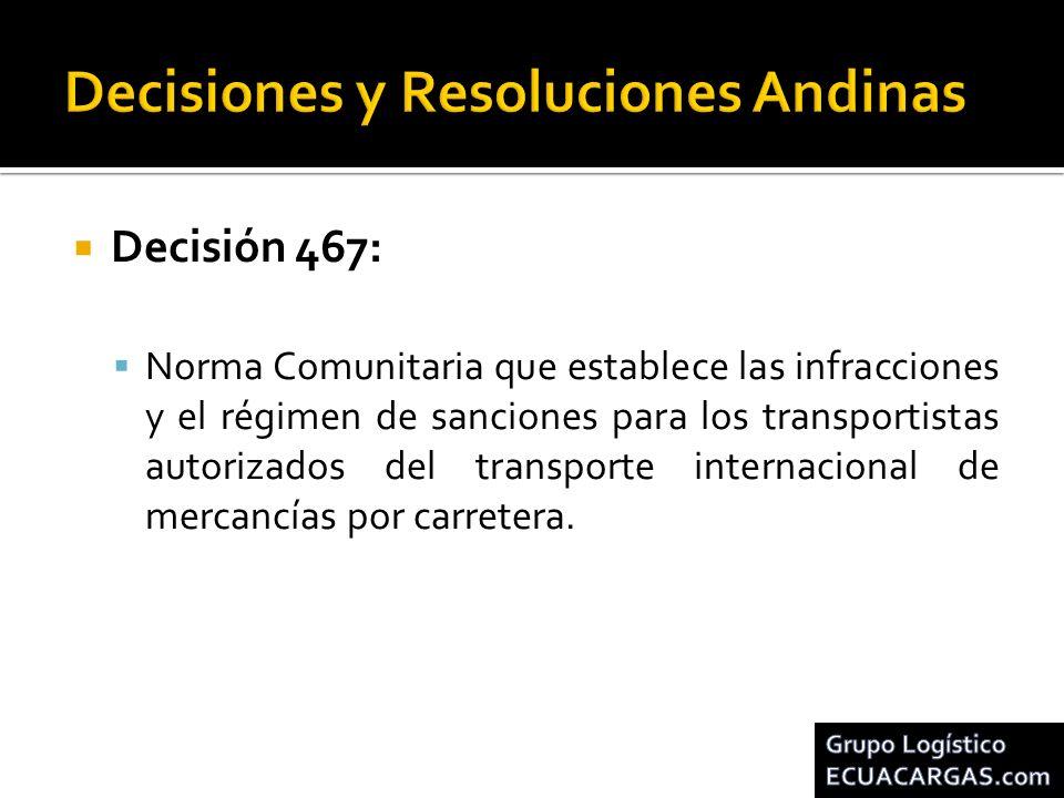 Decisión 467: Norma Comunitaria que establece las infracciones y el régimen de sanciones para los transportistas autorizados del transporte internacio