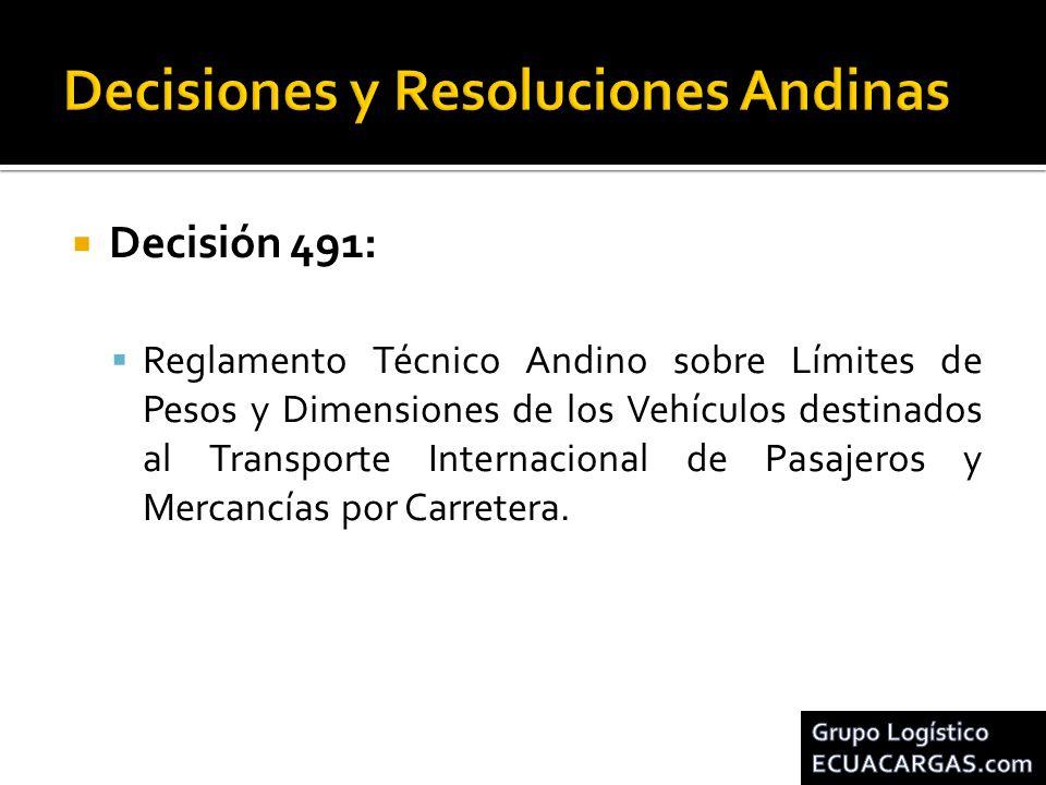Decisión 491: Reglamento Técnico Andino sobre Límites de Pesos y Dimensiones de los Vehículos destinados al Transporte Internacional de Pasajeros y Me
