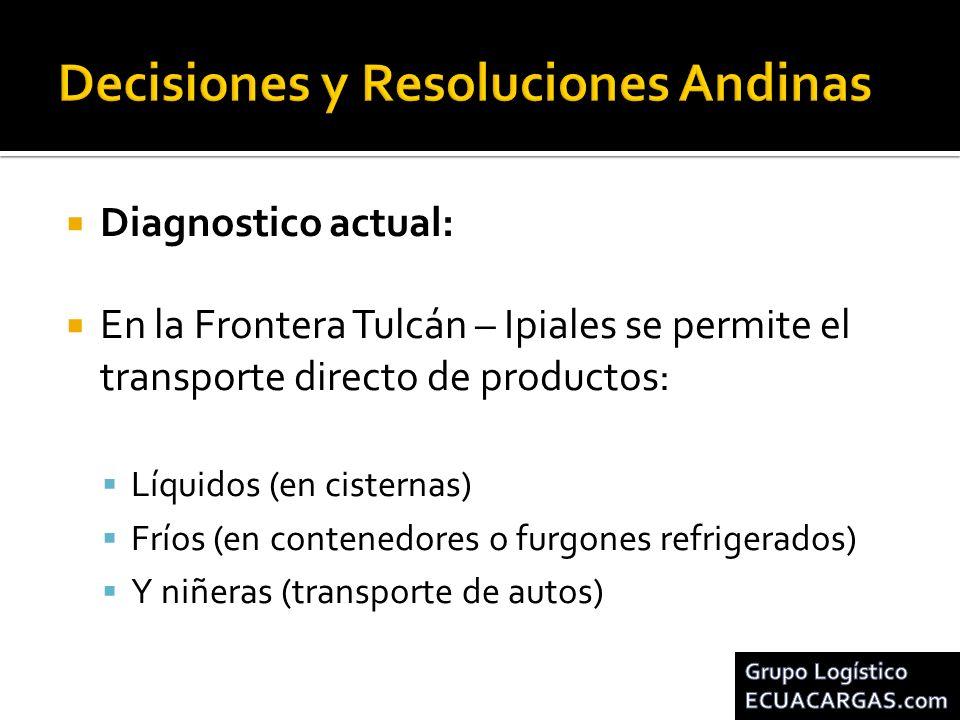 Diagnostico actual: En la Frontera Tulcán – Ipiales se permite el transporte directo de productos: Líquidos (en cisternas) Fríos (en contenedores o fu