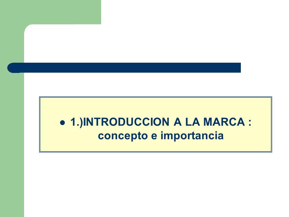 1.)INTRODUCCION A LA MARCA : concepto e importancia