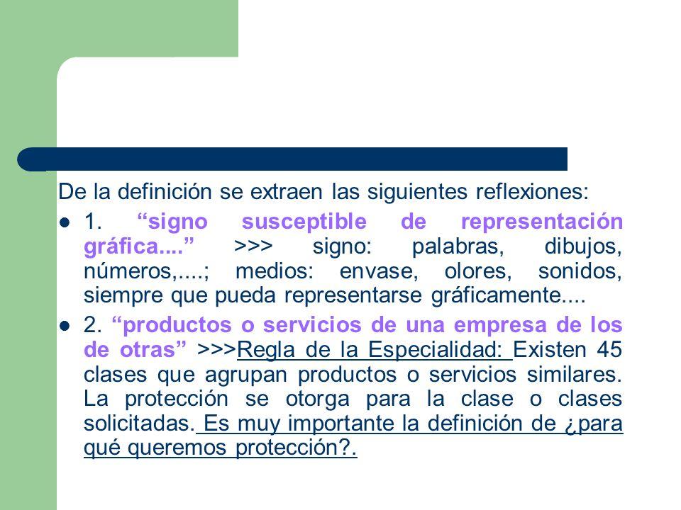 Tal como define el art. 4 de la LM, la marca es todo signo susceptible de representación gráfica que sirva para distinguir en el mercado los productos