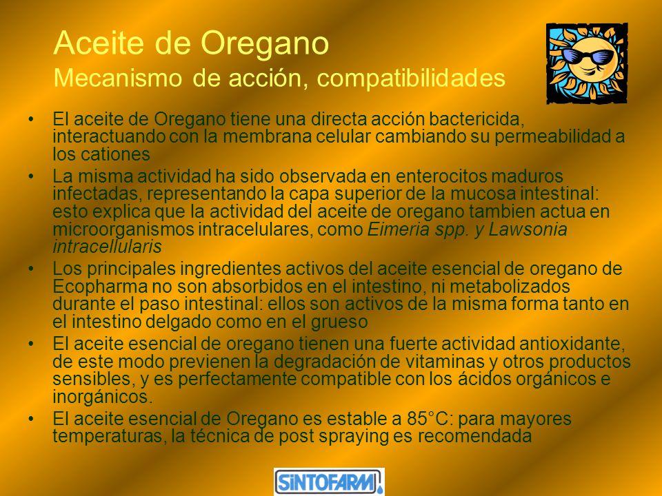 Aceite de Oregano Mecanismo de acción, compatibilidades El aceite de Oregano tiene una directa acción bactericida, interactuando con la membrana celul