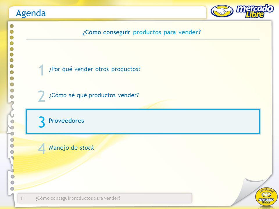 ¿Cómo conseguir productos para vender? Agenda ¿Por qué vender otros productos? 11 1 2 3 ¿Cómo sé qué productos vender? Proveedores Manejo de stock 4 ¿