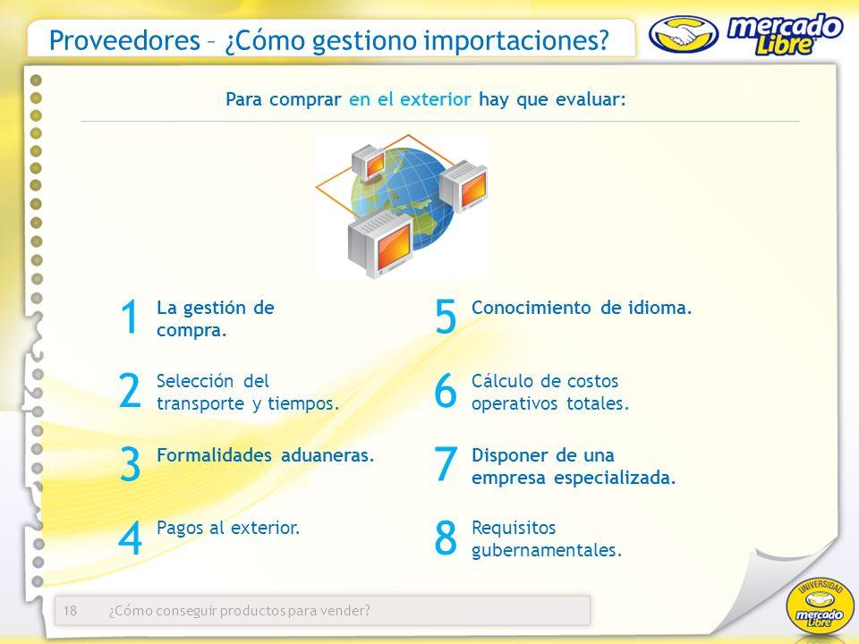 ¿Cómo conseguir productos para vender? Proveedores – ¿Cómo gestiono importaciones? 18 La gestión de compra. 1 2 Selección del transporte y tiempos. Pa