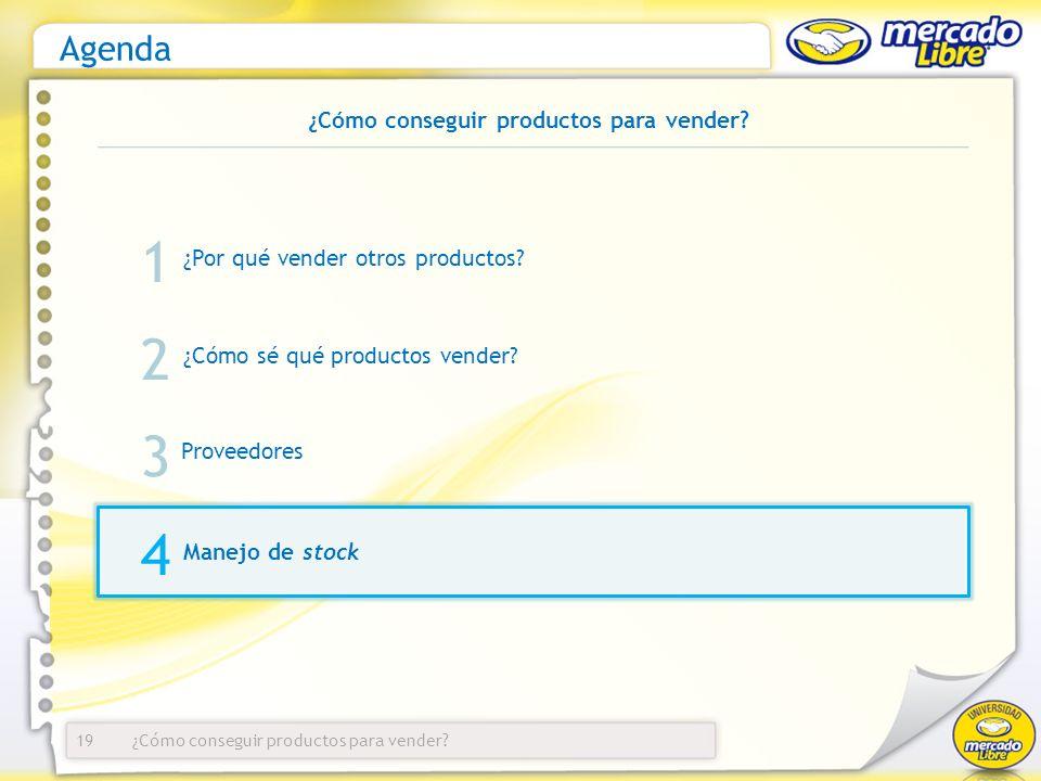 ¿Cómo conseguir productos para vender? Agenda ¿Por qué vender otros productos? 19 1 2 3 ¿Cómo sé qué productos vender? Proveedores Manejo de stock 4 ¿