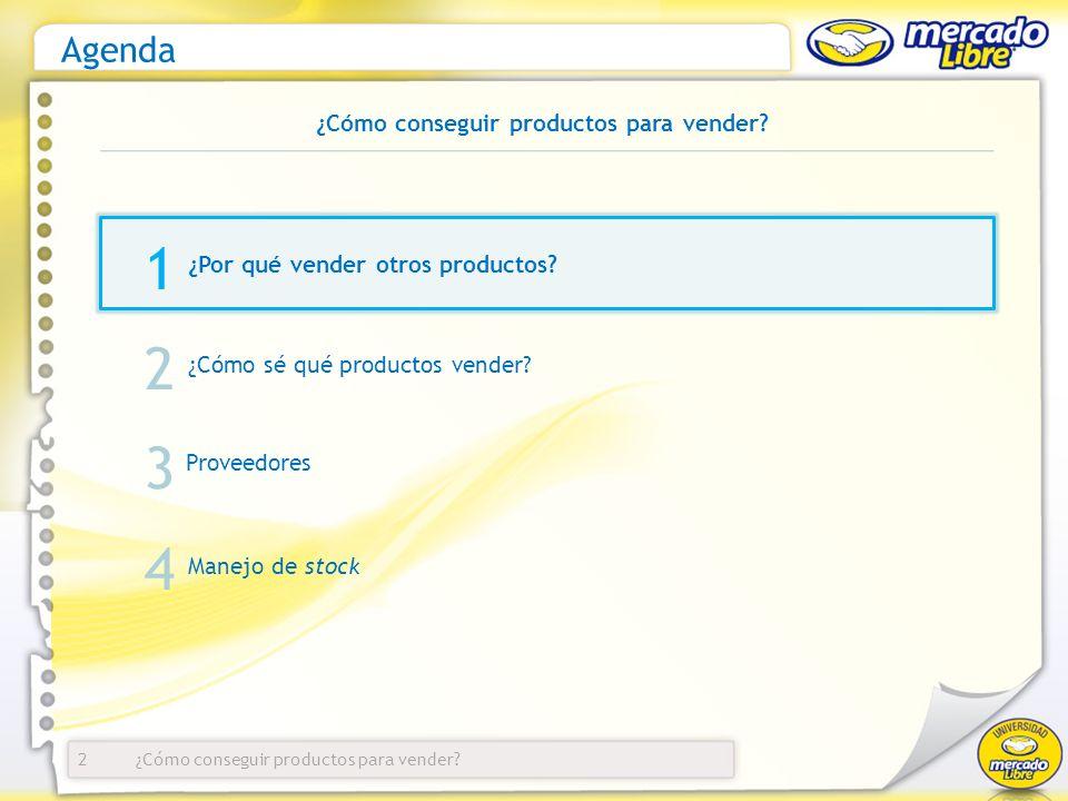 Agenda ¿Por qué vender otros productos? 2 1 2 3 ¿Cómo sé qué productos vender? Proveedores Manejo de stock 4 ¿Cómo conseguir productos para vender?