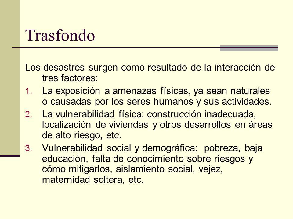 Vulnerabilidad Exposición a tsunami (datos Censo 2000) MunicipioPoblación expuesta %pob expuesta Vivienda expuesta % vivienda expuesta Mayagüez18,95019.25%7,50019.05% San Juan6,3081.45%3,8962.14% Arecibo5,5515.54%2,2735.83% Aguada4,79811.41%1,95412.53% Carolina4,5762.46%4,5136.33% Ponce3,6171.94%1,4162.13% Loíza3,34410.28%1,21211.09% Aguadilla2,8014.33%1,1914.79% Cabo Rojo2,4005.12%2,85912.33% Guayanilla1,8297.92%7008.59%