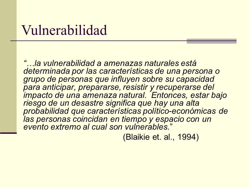 …la vulnerabilidad a amenazas naturales está determinada por las características de una persona o grupo de personas que influyen sobre su capacidad pa