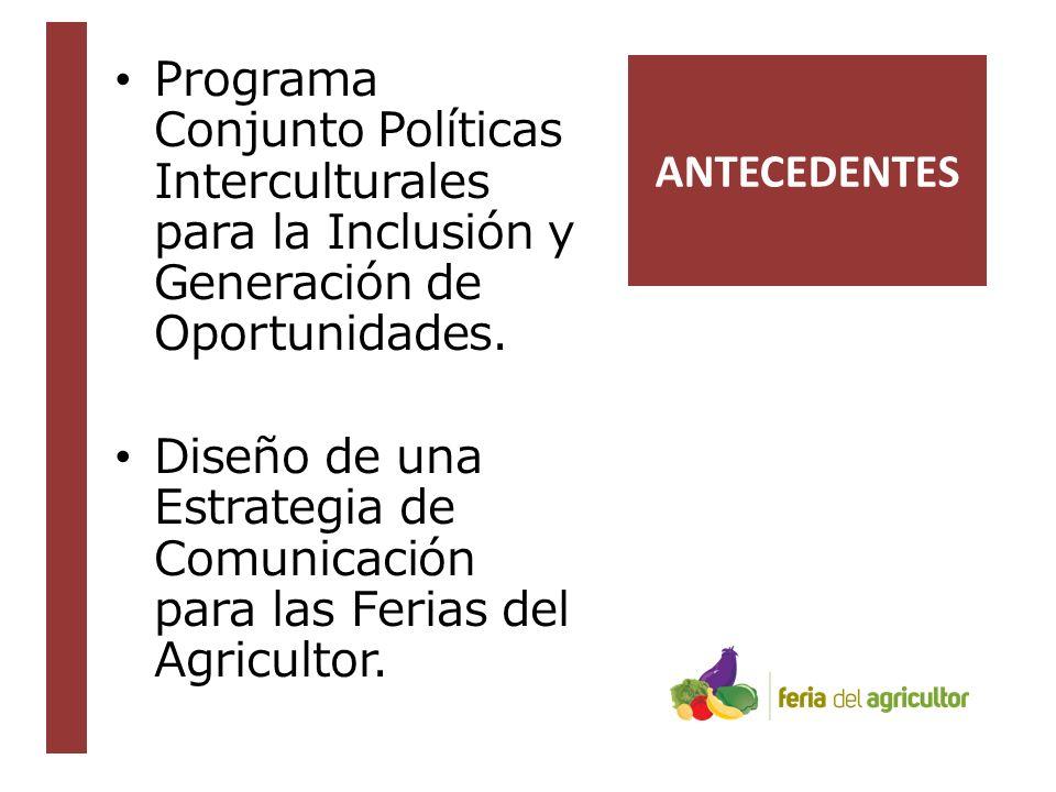 ANTECEDENTES Programa Conjunto Políticas Interculturales para la Inclusión y Generación de Oportunidades.