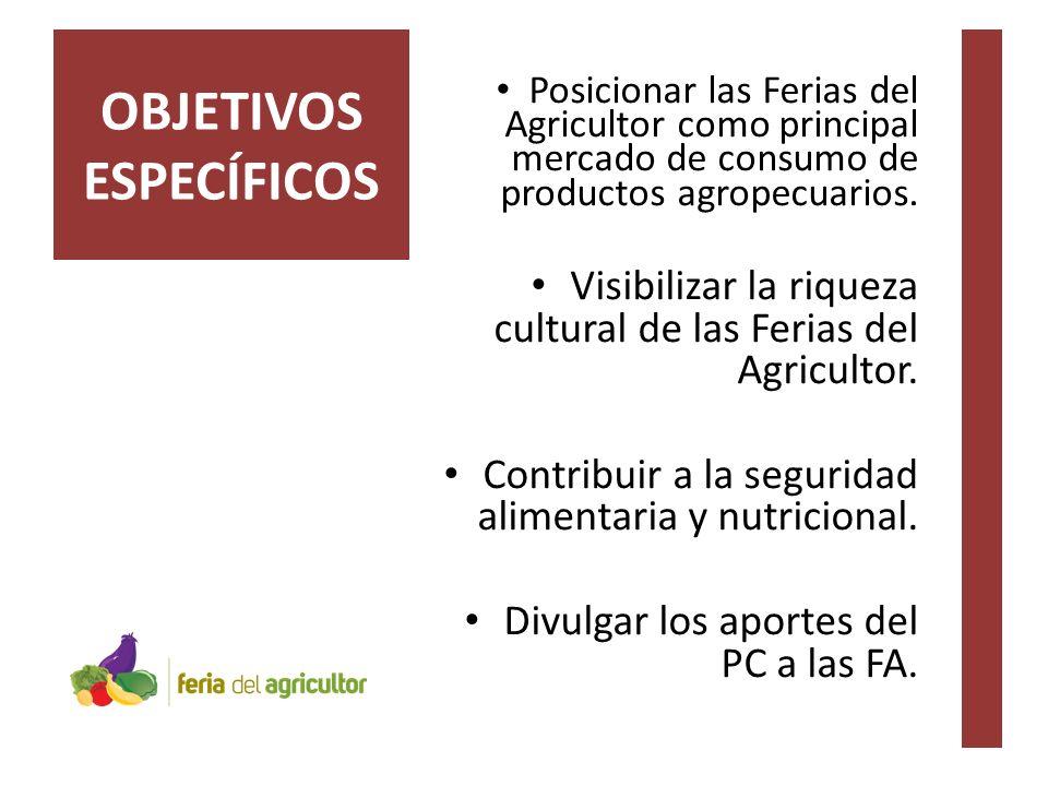 Posicionar las Ferias del Agricultor como principal mercado de consumo de productos agropecuarios.