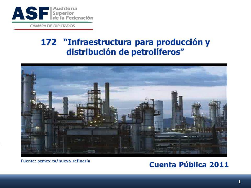 Cuenta Pública 2011 172Infraestructura para producción y distribución de petrolíferos 11 Fuente: pemex-tv/nueva-refinería
