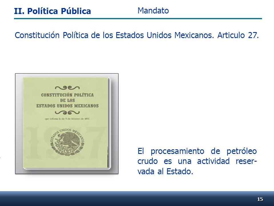 El procesamiento de petróleo crudo es una actividad reser- vada al Estado. Constitución Política de los Estados Unidos Mexicanos. Articulo 27. 1515 Ma