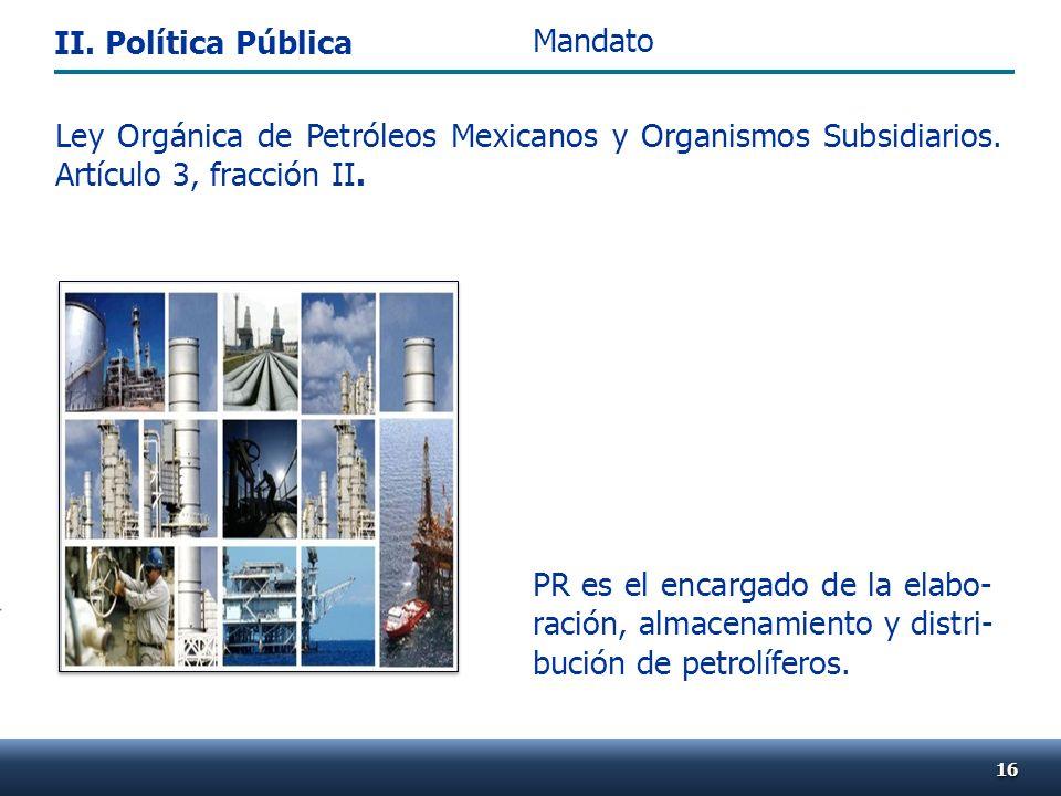Ley Orgánica de Petróleos Mexicanos y Organismos Subsidiarios. Artículo 3, fracción II. PR es el encargado de la elabo- ración, almacenamiento y distr