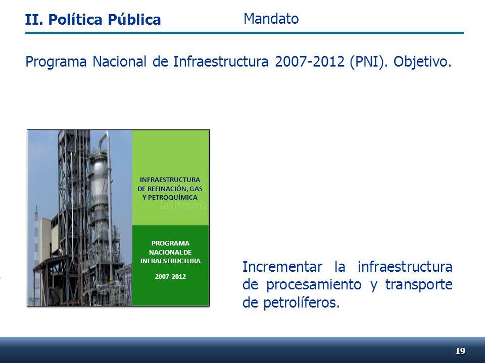 . Programa Nacional de Infraestructura 2007-2012 (PNI). Objetivo. Incrementar la infraestructura de procesamiento y transporte de petrolíferos. 1919 M