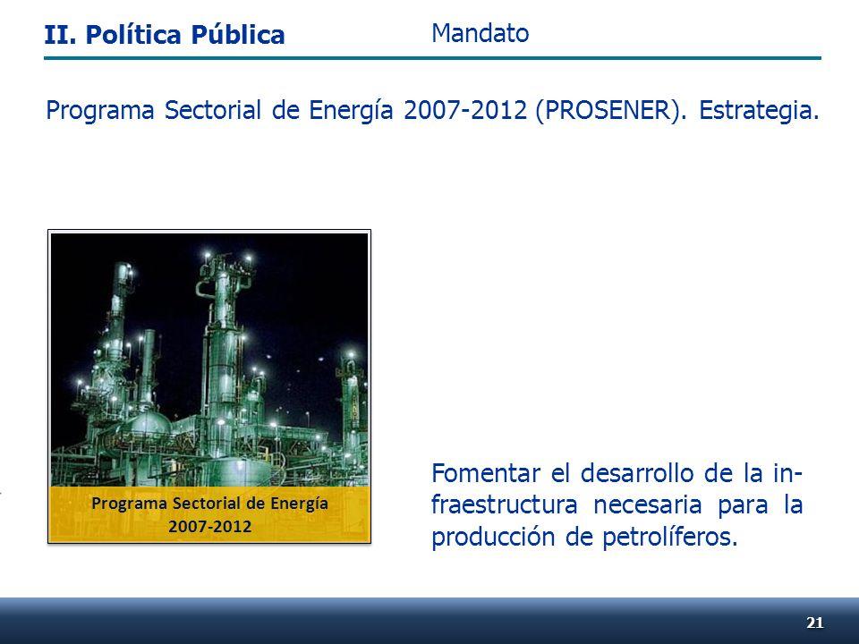 Programa Sectorial de Energía 2007-2012 (PROSENER). Estrategia. Fomentar el desarrollo de la in- fraestructura necesaria para la producción de petrolí
