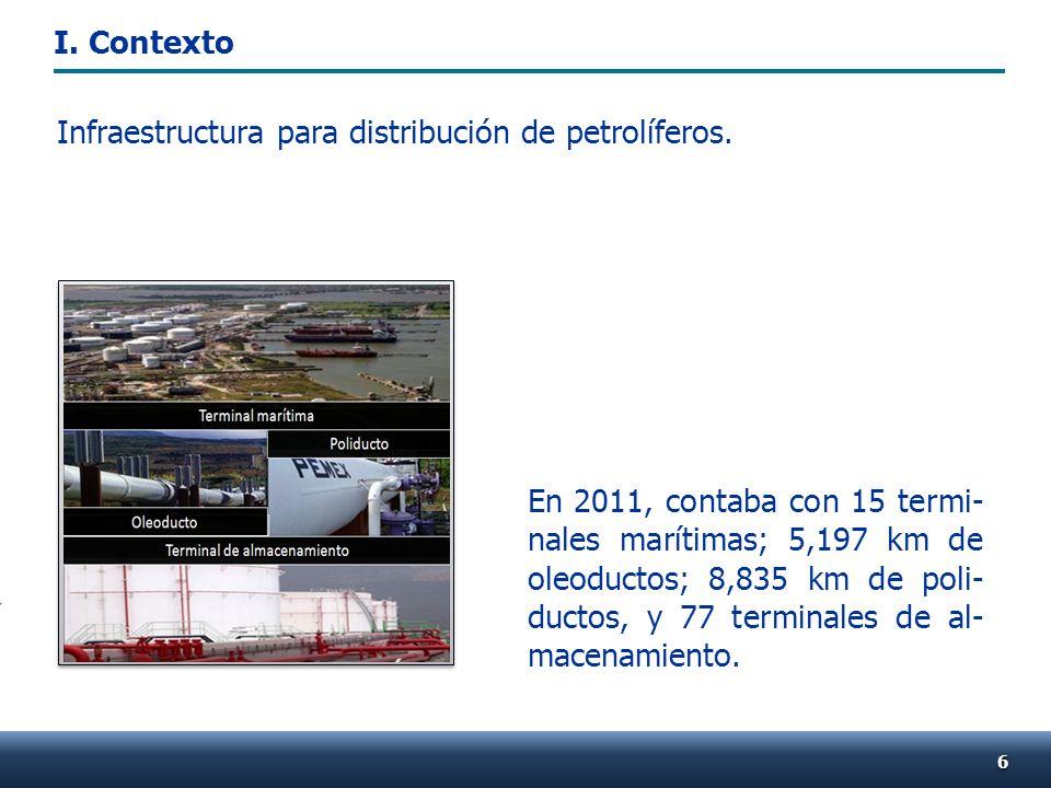 En 2011, contaba con 15 termi- nales marítimas; 5,197 km de oleoductos; 8,835 km de poli- ductos, y 77 terminales de al- macenamiento.