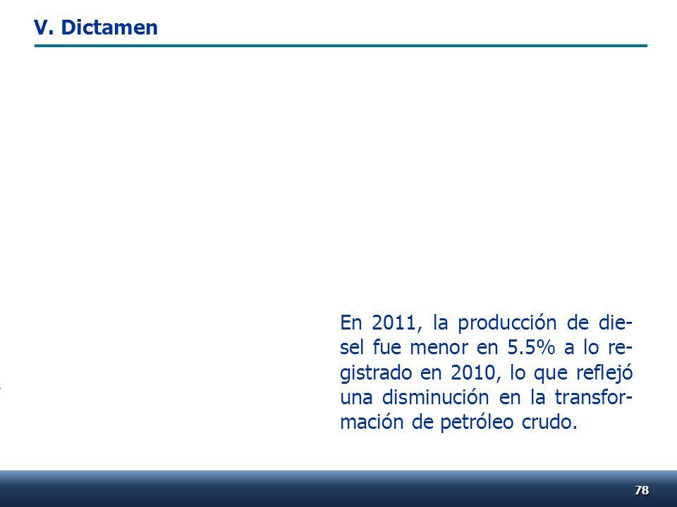 7878 En 2011, la producción de die- sel fue menor en 5.5% a lo re- gistrado en 2010, lo que reflejó una disminución en la transfor- mación de petróleo crudo.