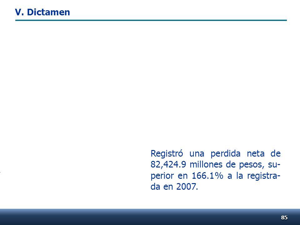 Registró una perdida neta de 82,424.9 millones de pesos, su- perior en 166.1% a la registra- da en 2007. 8585 V. Dictamen