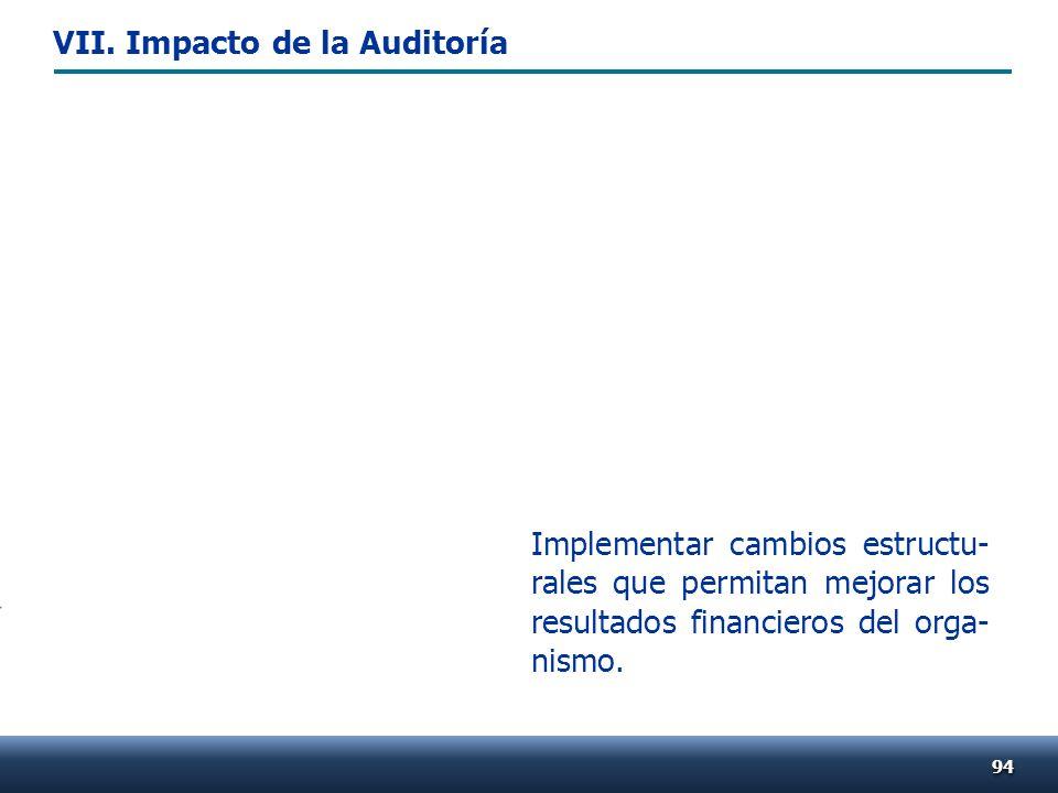 Implementar cambios estructu- rales que permitan mejorar los resultados financieros del orga- nismo. 9494 VII. Impacto de la Auditoría