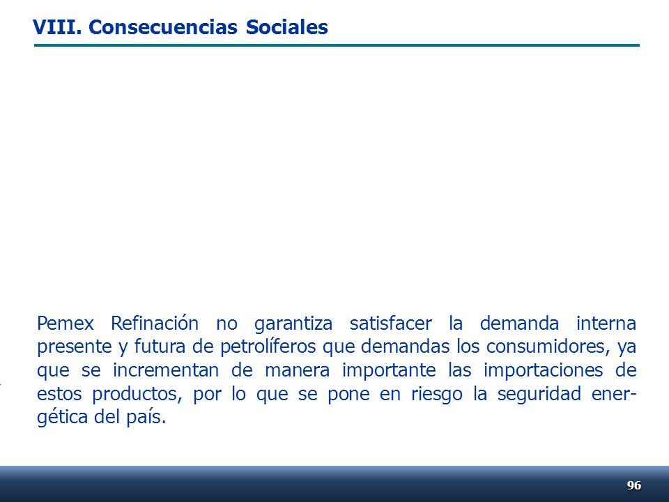 9696 Pemex Refinación no garantiza satisfacer la demanda interna presente y futura de petrolíferos que demandas los consumidores, ya que se incrementa