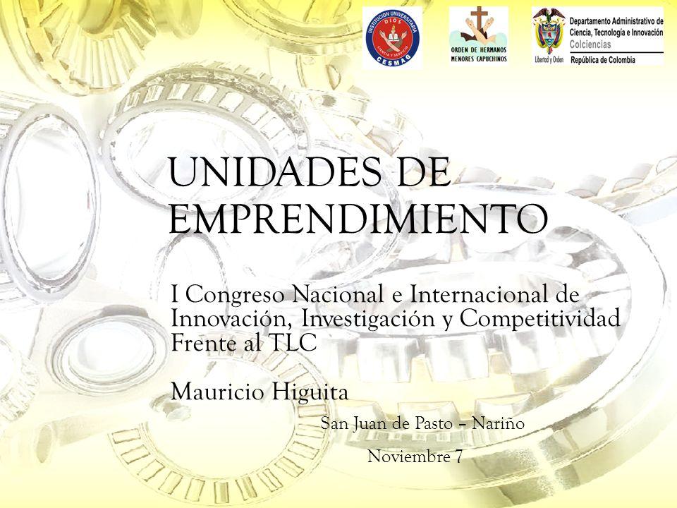 UNIDADES DE EMPRENDIMIENTO I Congreso Nacional e Internacional de Innovación, Investigación y Competitividad Frente al TLC Mauricio Higuita San Juan de Pasto – Nariño Noviembre 7