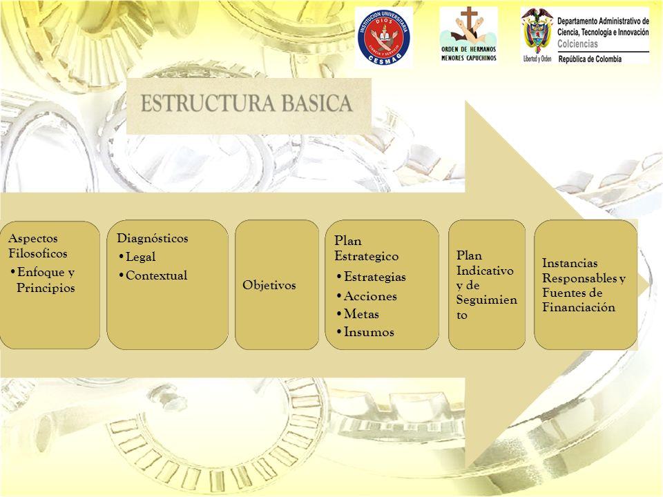Aspectos Filosoficos Enfoque y Principios Diagnósticos Legal Contextual Objetivos Plan Estrategico Estrategias Acciones Metas Insumos Plan Indicativo y de Seguimien to Instancias Responsables y Fuentes de Financiación