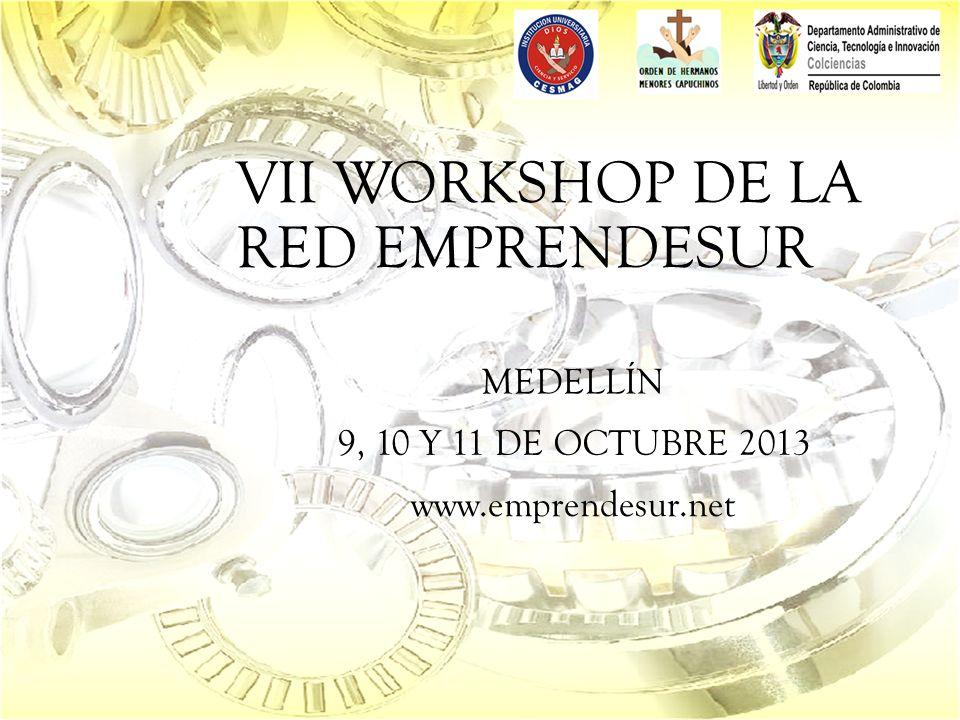 VII WORKSHOP DE LA RED EMPRENDESUR MEDELLÍN 9, 10 Y 11 DE OCTUBRE 2013 www.emprendesur.net