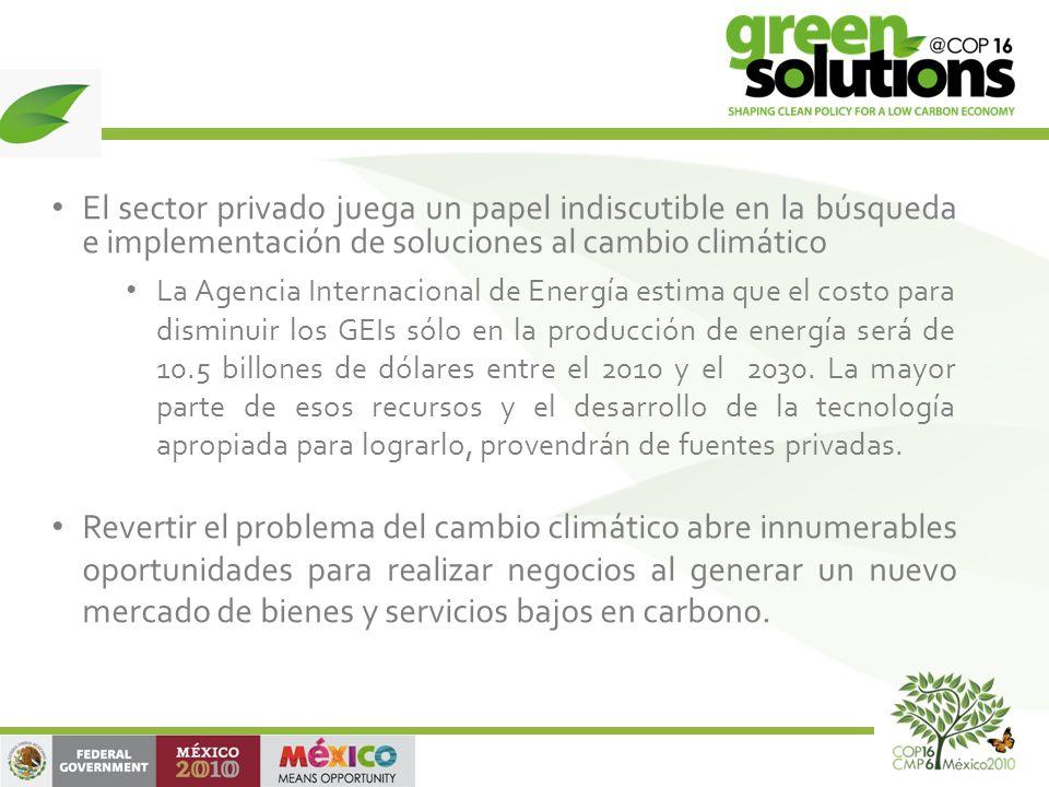 El sector privado juega un papel indiscutible en la búsqueda e implementación de soluciones al cambio climático La Agencia Internacional de Energía estima que el costo para disminuir los GEIs sólo en la producción de energía será de 10.5 billones de dólares entre el 2010 y el 2030.