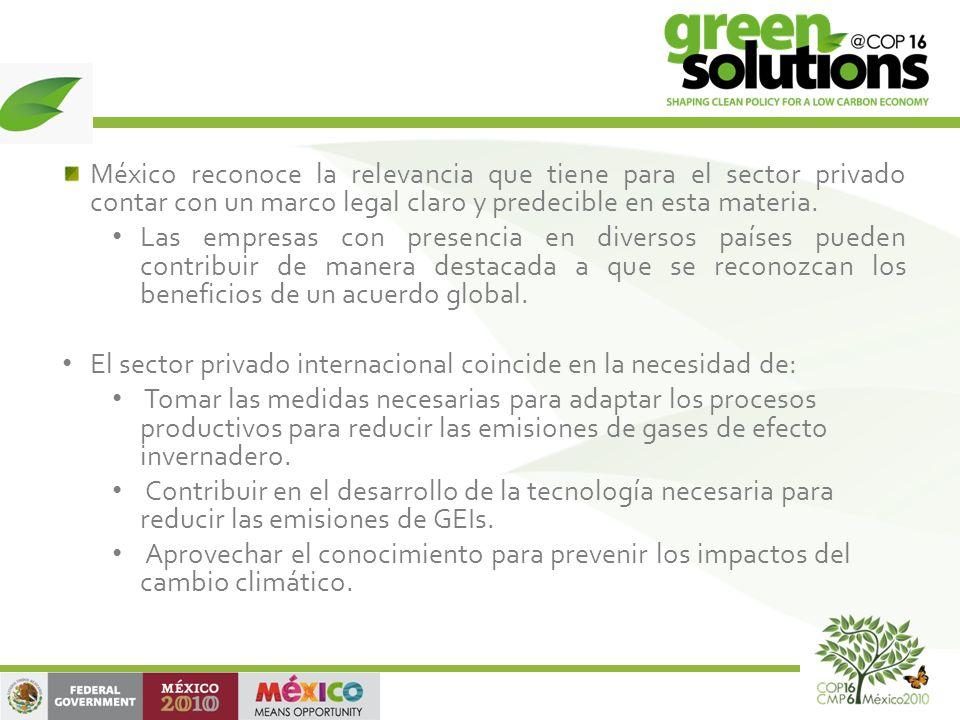México reconoce la relevancia que tiene para el sector privado contar con un marco legal claro y predecible en esta materia.