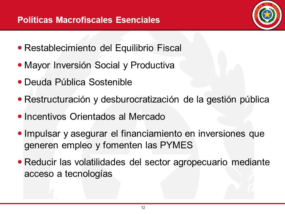 12 Políticas Macrofiscales Esenciales Restablecimiento del Equilibrio Fiscal Mayor Inversión Social y Productiva Deuda Pública Sostenible Restructurac