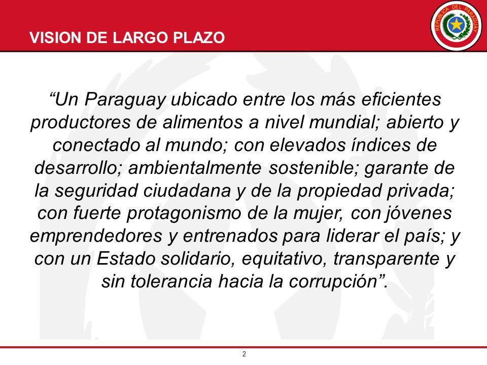 2 VISION DE LARGO PLAZO Un Paraguay ubicado entre los más eficientes productores de alimentos a nivel mundial; abierto y conectado al mundo; con eleva