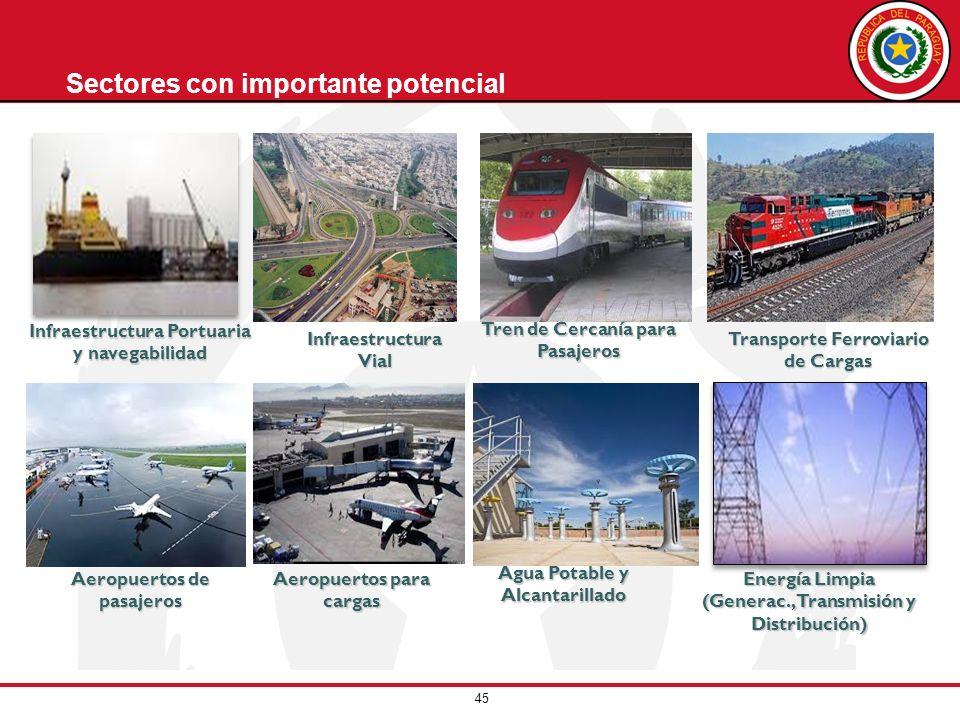 45 Infraestructura Portuaria y navegabilidad Energía Limpia (Generac., Transmisión y Distribución) Sectores con importante potencialInfraestructura Vi