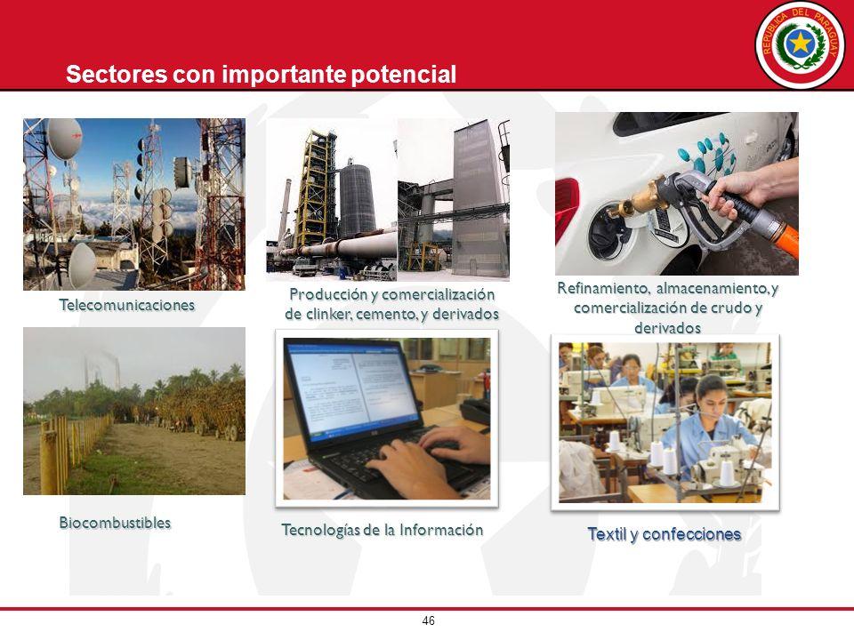 46 Sectores con importante potencialBiocombustibles Tecnologías de la Información Telecomunicaciones Producción y comercialización de clinker, cemento