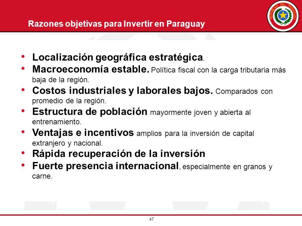 47 Razones objetivas para Invertir en Paraguay Localización geográfica estratégica. Macroeconomía estable. Política fiscal con la carga tributaria más