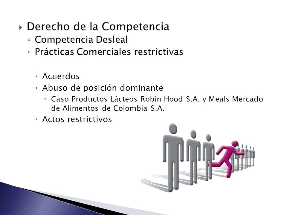 Derecho de la Competencia Competencia Desleal Prácticas Comerciales restrictivas Acuerdos Abuso de posición dominante Caso Productos Làcteos Robin Hoo