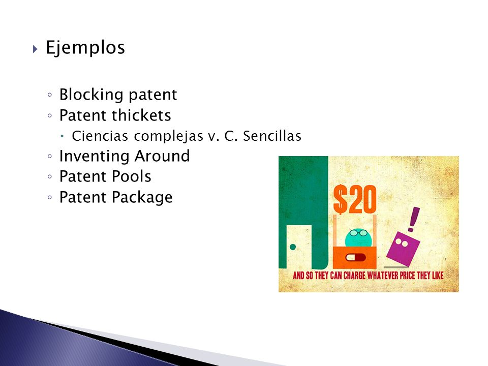 Ejemplos Blocking patent Patent thickets Ciencias complejas v. C. Sencillas Inventing Around Patent Pools Patent Package
