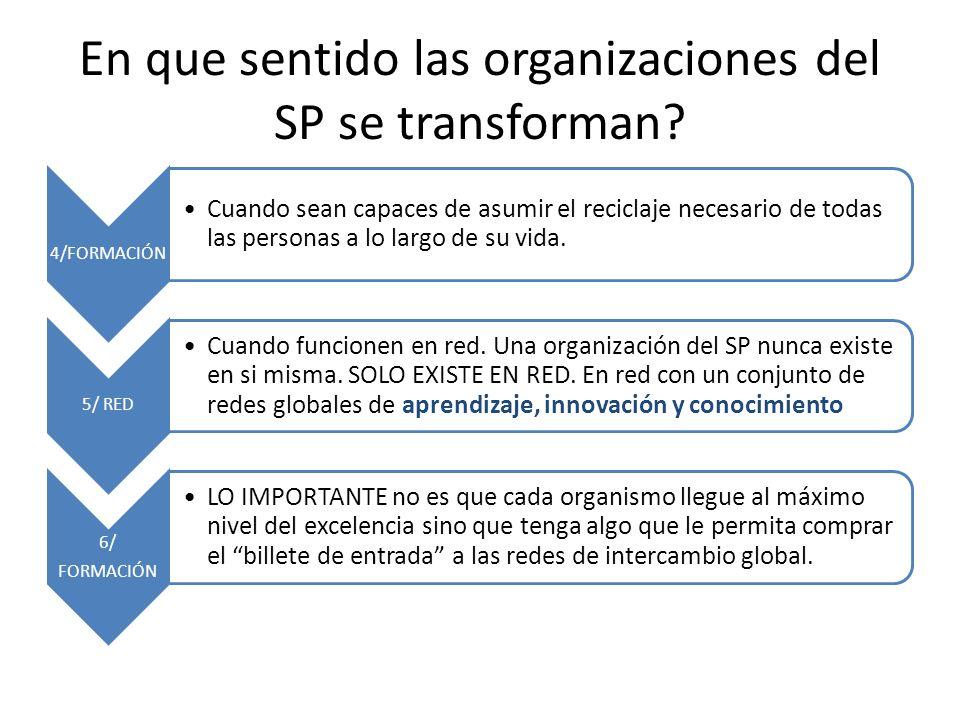 En que sentido las organizaciones del SP se transforman.