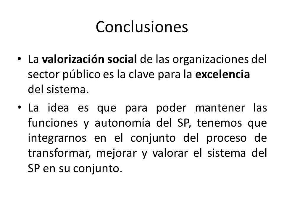 Conclusiones La valorización social de las organizaciones del sector público es la clave para la excelencia del sistema.