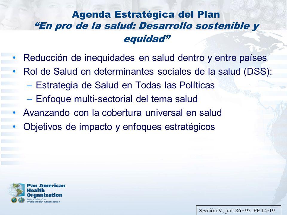 Agenda Estratégica del Plan En pro de la salud: Desarrollo sostenible y equidad Reducción de inequidades en salud dentro y entre países Rol de Salud e