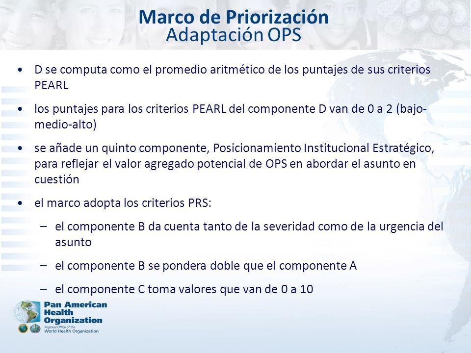 Marco de Priorización Adaptación OPS D se computa como el promedio aritmético de los puntajes de sus criterios PEARL los puntajes para los criterios P