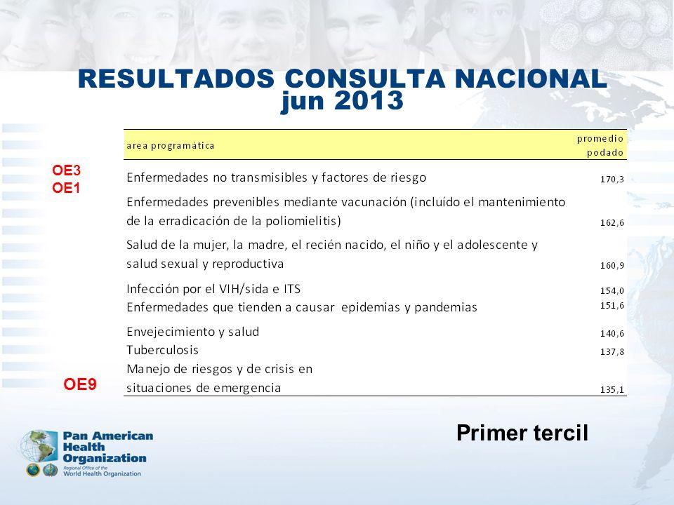 RESULTADOS CONSULTA NACIONAL jun 2013 OE3 OE1 OE9 Primer tercil