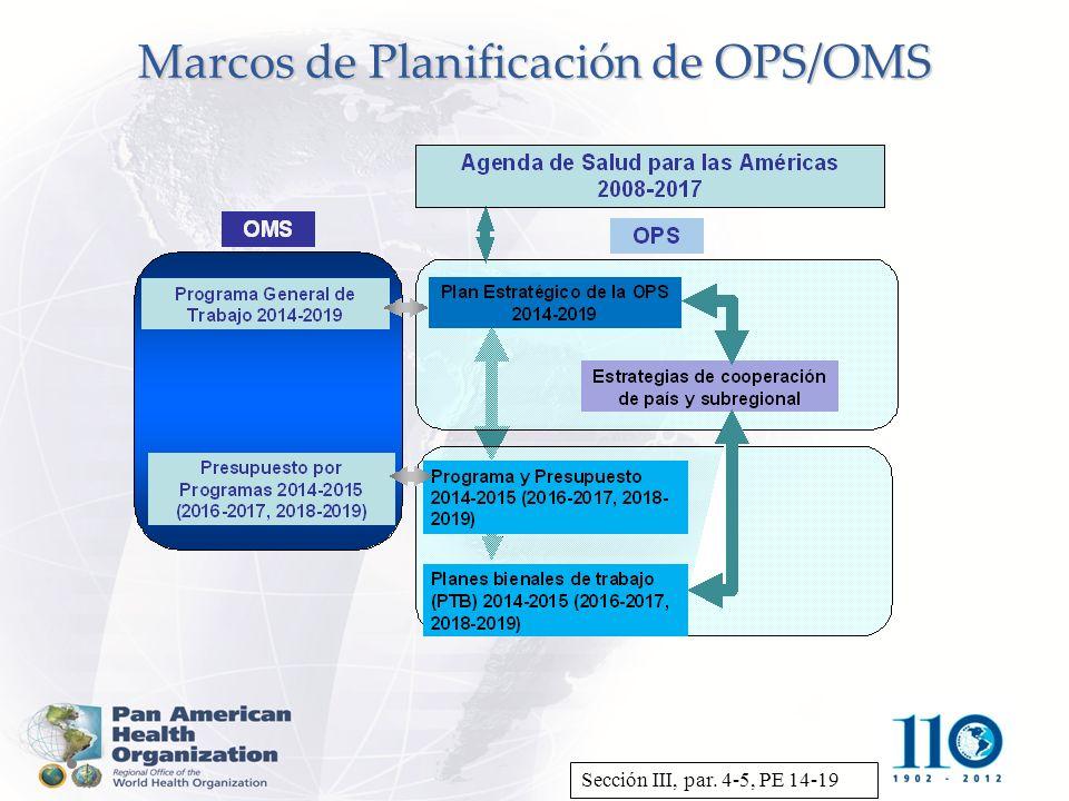 Marcos de Planificación de OPS/OMS Sección III, par. 4-5, PE 14-19